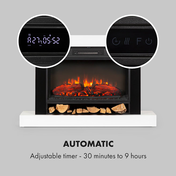 Vulsini Nightfall Electric Fireplace 1900 W LED Technology Remote Control white Fireplace chassis in studio look