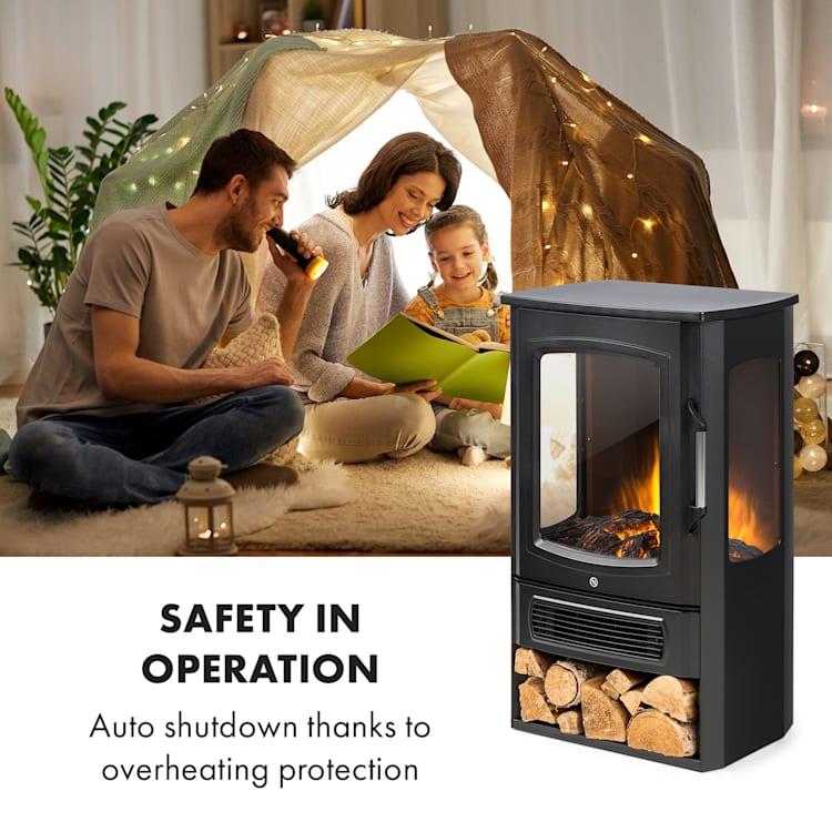 Bormio Panorama Electric Fireplace 1000 / 2000W Thermostat Black Black