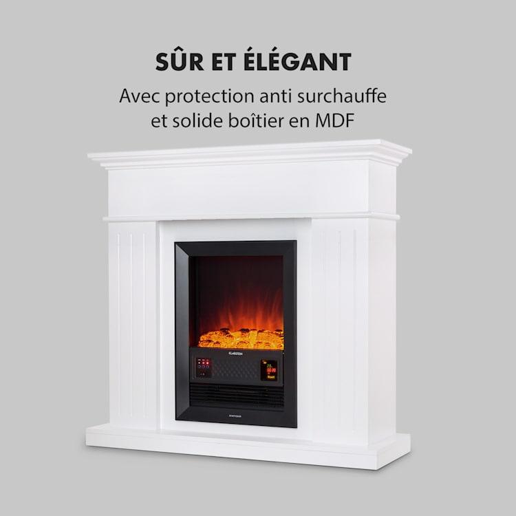 Chamonix  cheminée électrique à radiateur soufflant 2000 W minuterie hebdomadaire télécommande blanc