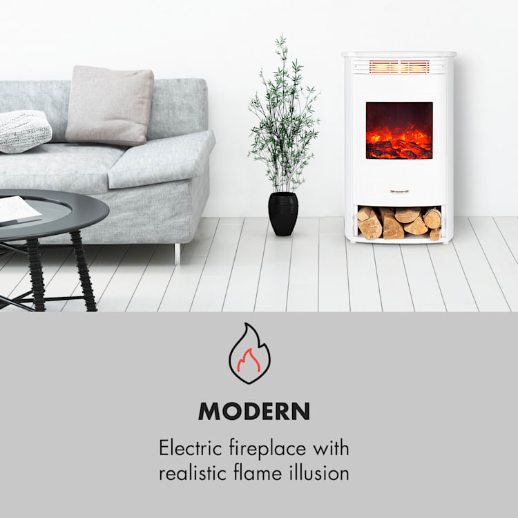 Bormio WH, Electric Fireplace, 950 / 1900W, Thermostat, Weekly Timer, White  White