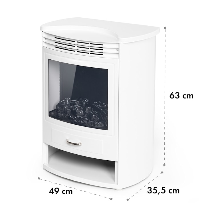Bormio S WH, Electric Fireplace, 950 / 1900W, Thermostat, Weekly Timer, White  White