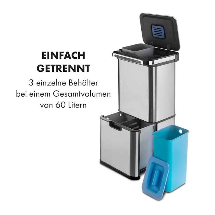 Touchless Ultraclean Sensor-Mülleimer 60L 3 Behälter Edelstahl  Silber