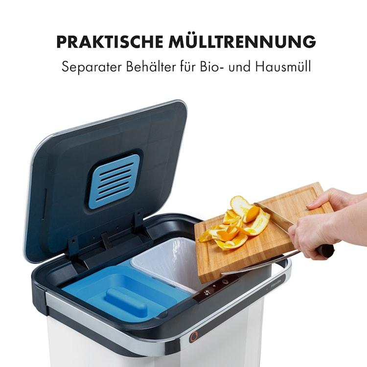 Touchless Ultraclean Sensor-Mülleimer 60L 3 Behälter Edelstahl  Weiß