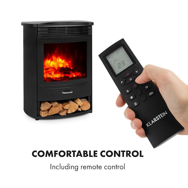 Bormio S Smart, kominek elektryczny, 950/1900 W, termostat, timer tygodniowy, czarny