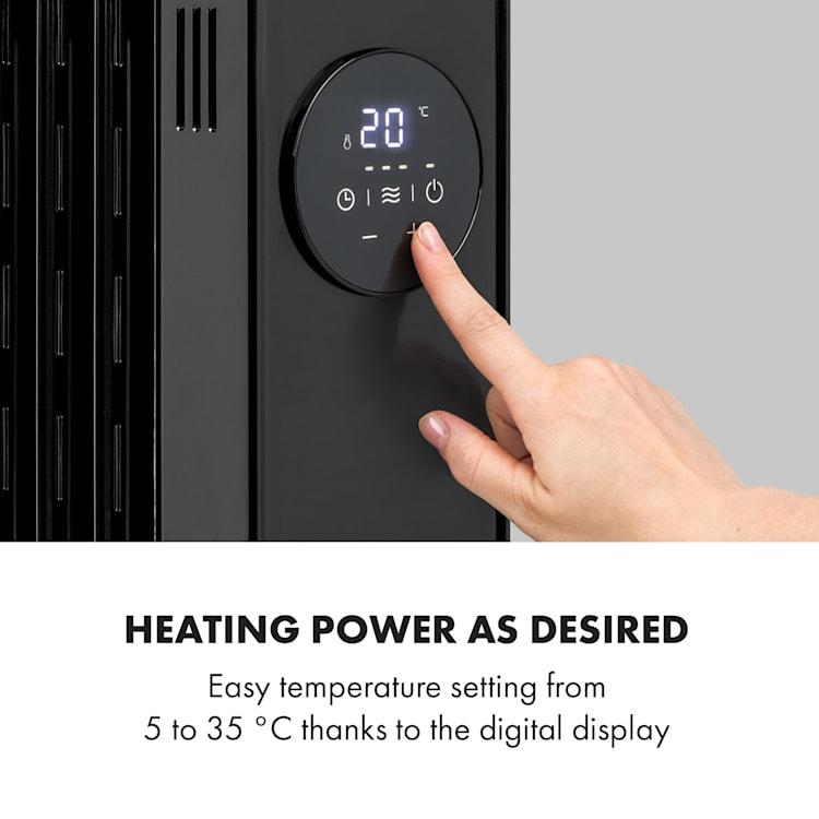 Thermaxx Heatstream, grzejnik olejowy, 2500 W, 5–35°C, 24-godzinny timer, czarny Czarny