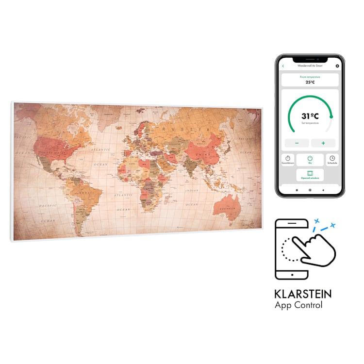 Wonderwall Air Art Smart, infračervený ohřívač, 120 x 60 cm, 700 W, aplikace, svět 120 x 60 cm / Design: World Map