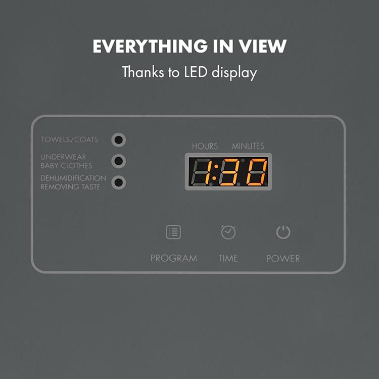 Zap Dry wasdroger 820W 50l touch-bedieningspaneel LED-weergave Grijs