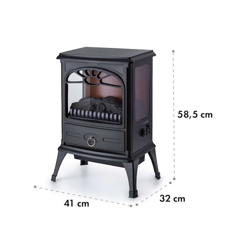 Leoben, Electric Fireplace, 900/1800 W, Thermostat, PanoramaView, Black Black