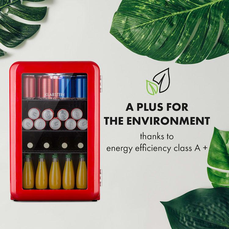 PopLife 65L, chladnička na nápoje, chladnička, 70 litrov, 0 – 10 °C, retro dizajn Červená