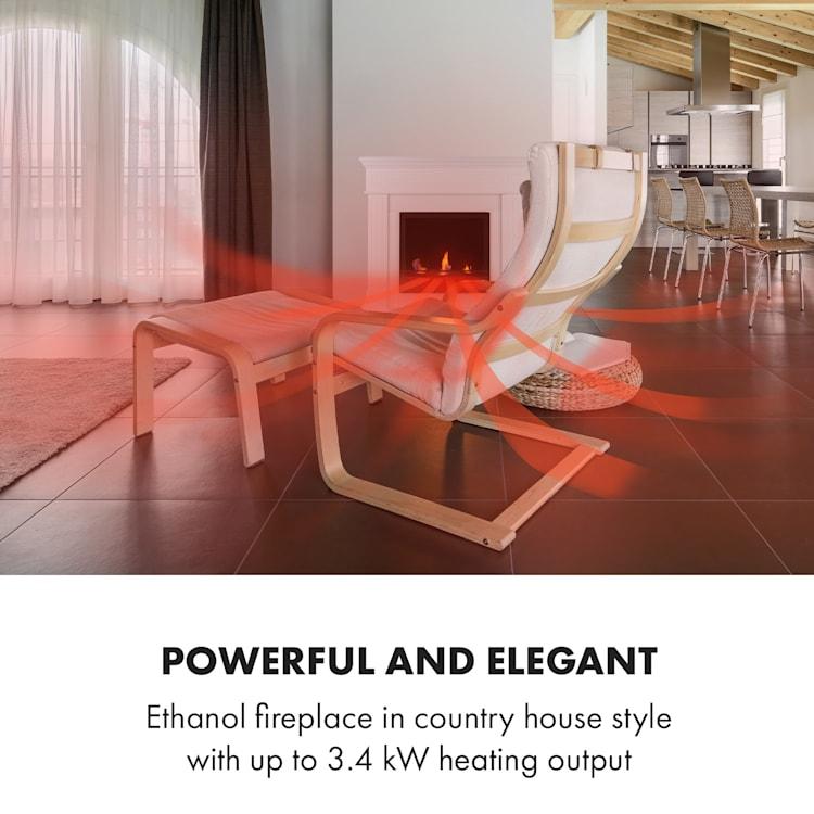Phantasma Manor, etanolový krb, 3,4 kW, vesnický styl, MDF, čas hoření 2,5h