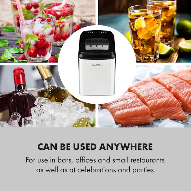 75/5000 Partytime, jégkészítő, tiszta jég, 15 kg / 24 óra, rozsdamentes acél, ezüst Ezüst