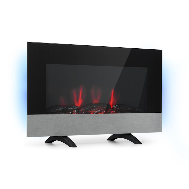 Basel Baseline, Electric Fireplace, 2000W, 2-Stage Thermostat, Glass, Stainless Steel
