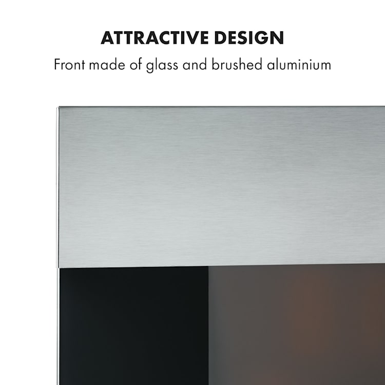 Basel Illumine, Electric Fireplace, 2000W, 2-Stage Thermostat, Glass, Stainless Steel