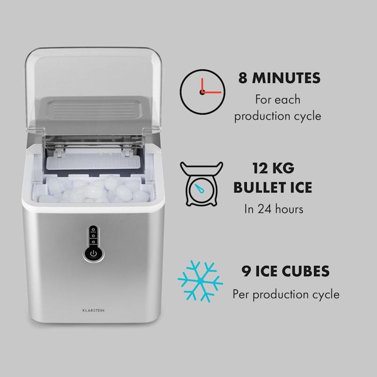Chillout Máquina de Cubos de Gelo Formato de Elipse12kg/24h Tanque de Água: 1,5L Prata Prateado