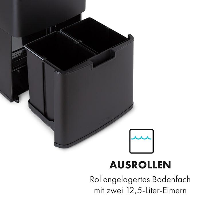 Royal Trash Matte Black Sensor-Mülleimer 72 Liter Edelstahl Matt-Schwarz