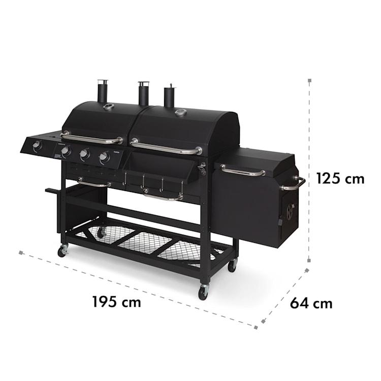 Kingsville Smoker, kombinovaný gril, plyn, uhlie, udiareň, 13,5 kW, 3 + 1 horáky