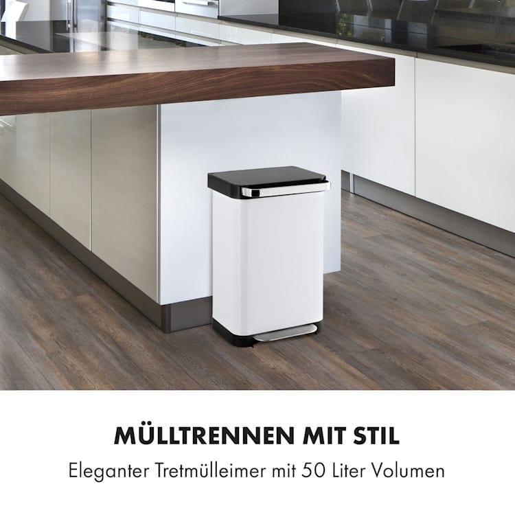 Trash Inn Tretmülleimer 50 Liter Geruchsfilter Edelstahl  50 Ltr