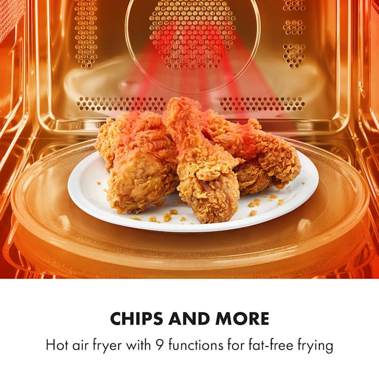 Aero Wave, 3 az 1-ben mikrohullámú sütő, grill, forrólevegős fritőz, 28 liter, nemesacél