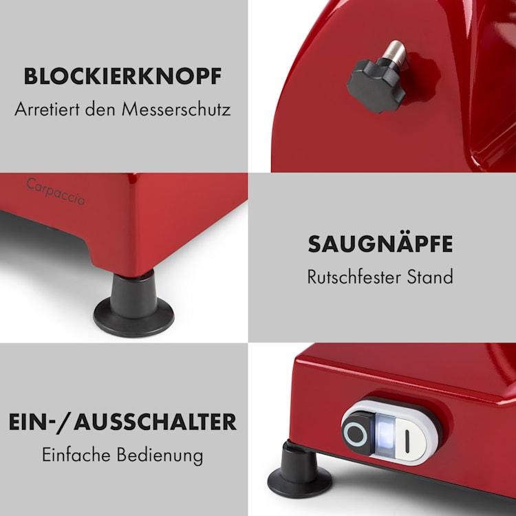 Carpaccio Schneidemaschine 240W 0-12mm 200x155mm Edelstahl Rot