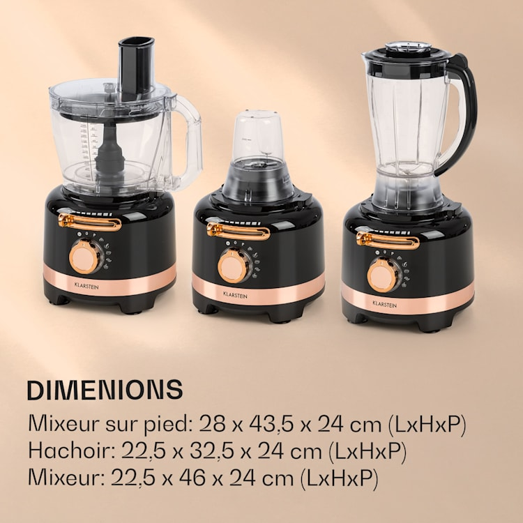 Luca multifunctionele mixer 1000 W 3 traploze snelheid 6 modi Zwart