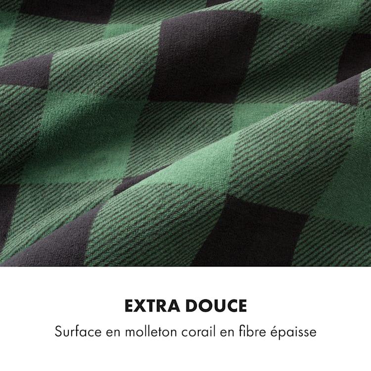 Dr. Watson XXL Couverture électrique 120W 200x180 cm polaire de corail carreaux gris Gris À Motifs | XXL