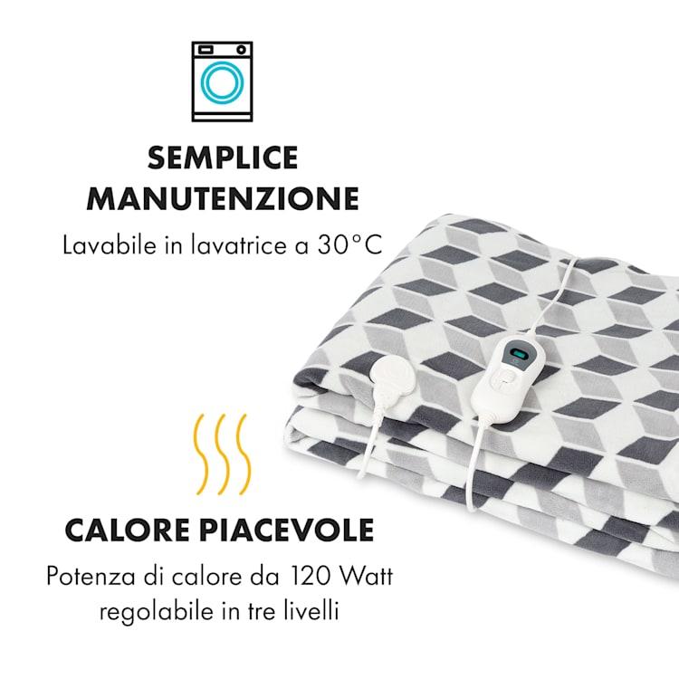Dr. Watson XXL, Coperta Termica, 200x180cm, Coral Fleece, 120W, quadrati verdi Verde A Fantasia | XXL