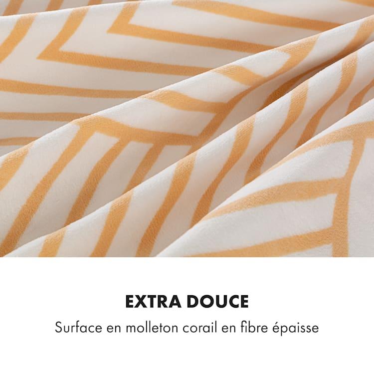 Dr. Watson XXL Couverture électrique 120W 200x180 cm polaire de corail lignes beiges Beige À Motifs | XXL