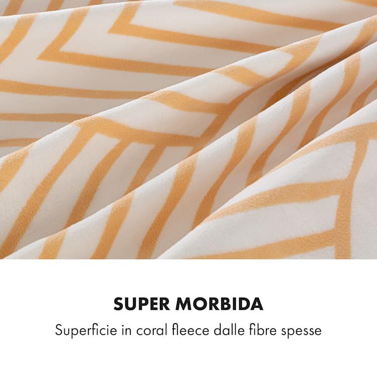 Dr. Watson XXL, Coperta Termica, 200x180cm, Coral Fleece, 120W, linee beige Beige A Fantasia | XXL