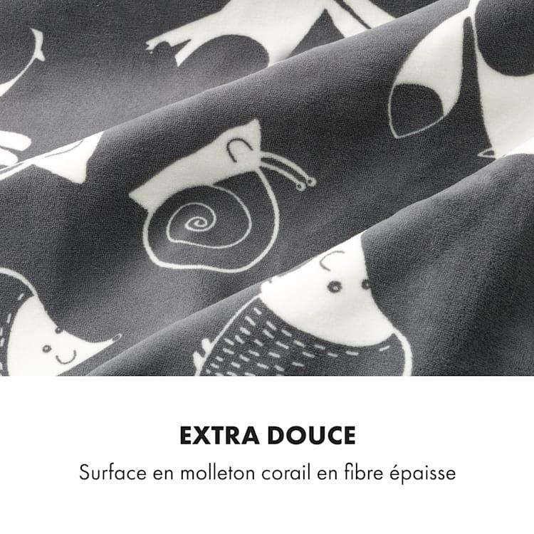 Dr. Watson XXL elektrische deken 120W 200x180cm Coral Fleece antraciet dieren Antraciet Met Patroon | XXL