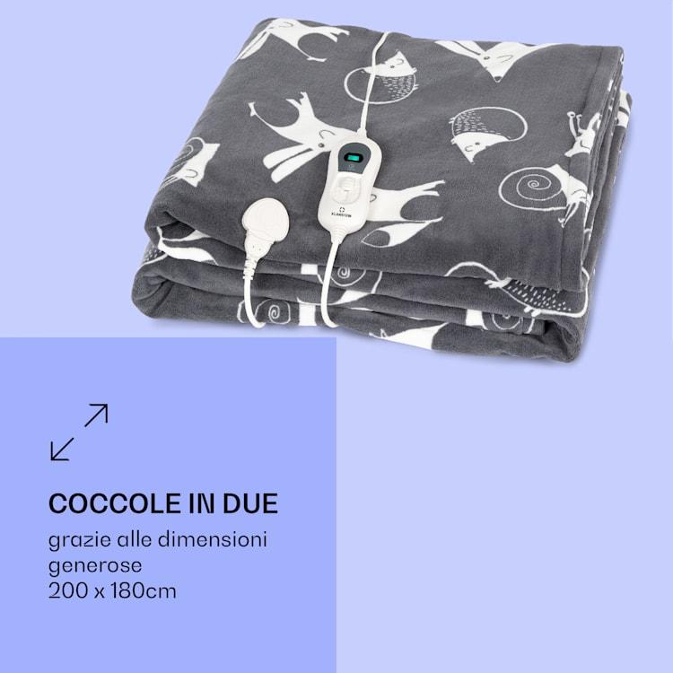 Dr. Watson XXL, Coperta Termica, 200x180cm, Coral Fleece, 120W, animali antracite Antracite A Fantasia   XXL