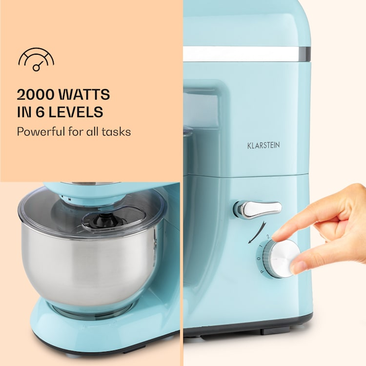 Bella Elegance Robot culinaire 2000 W / 2,7 ch / 5,2 l Acier inoxydable sans BPA Bleu Pastel