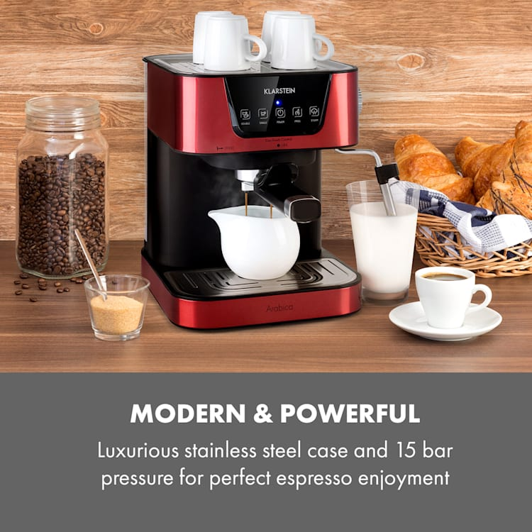 Arabica Espressomaskin 1050W 15 Bar 1,5l touchpanel ädelstål