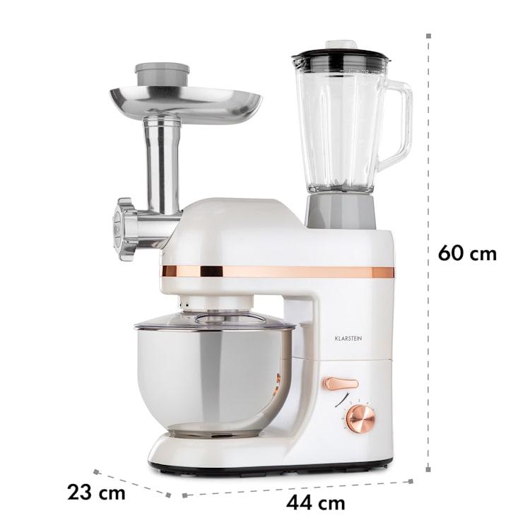 Lucia Elegance, robot kuchenny, mikser, maszynka do mięsa, 1300 W, nie zawiera BPA Biały