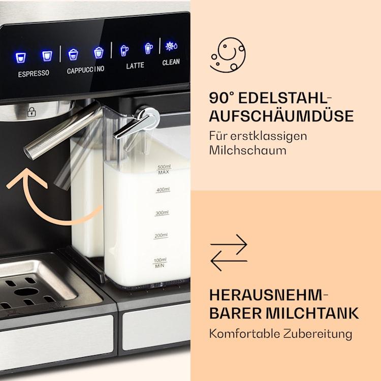 Arabica Comfort Espressomaschine 1350W 20 Bar 1,8l Touch-Bedienfeld Edelstahl
