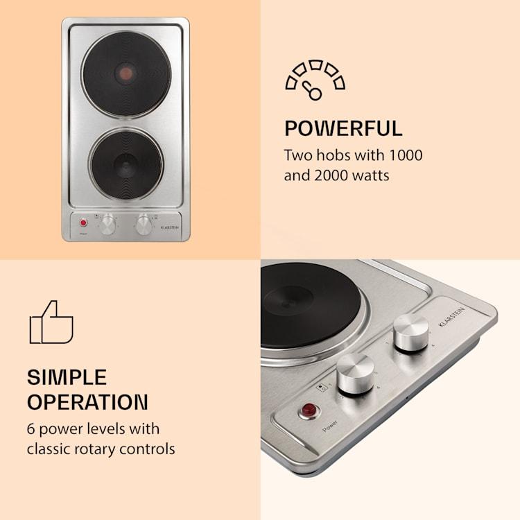 Appetito Domino, piano cottura elettrico, 2 piastre, 6 livelli di potenza, acciaio inox, 3000 Watt Argento
