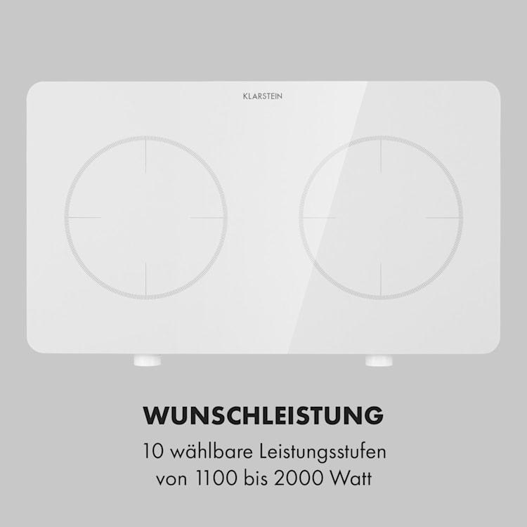 FutureChef, Piano cottura a induzione doppio, 2 zone, 3000 Watt Bianco