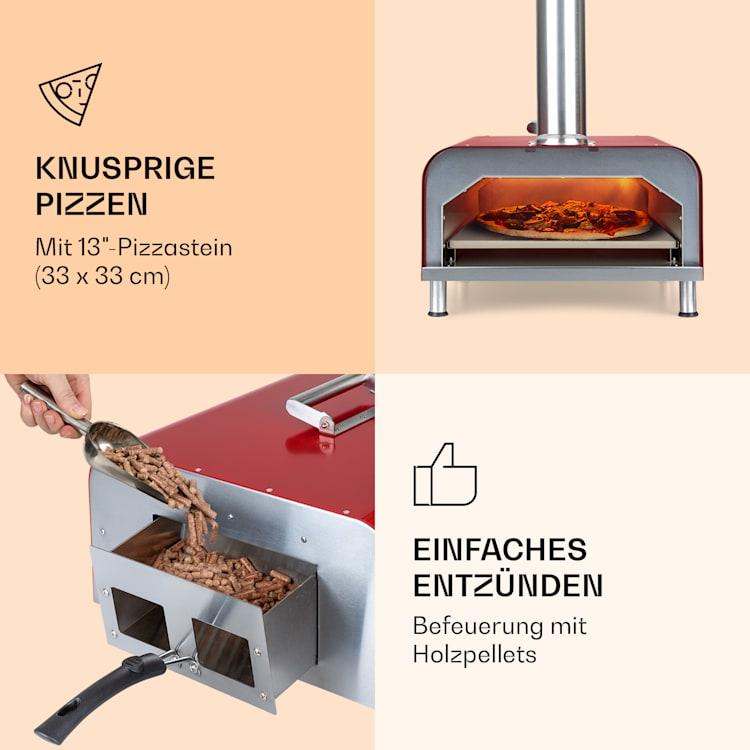 Diavolo Pizza-Pelletofen inkl. Pizzastein Thermometer Edelstahl Rot