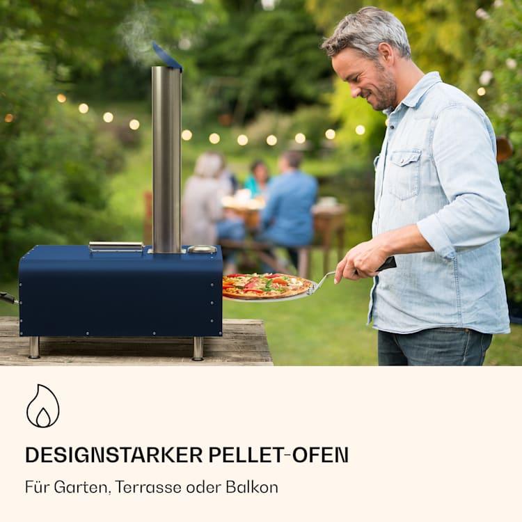 Diavolo Pizza-Pelletofen inkl. Pizzastein Thermometer Edelstahl Blau