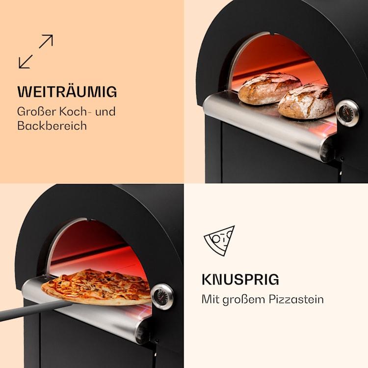 Diavolo Napoletana Pizzaofen Holzofen rostfreier Edelstahl Schwarz