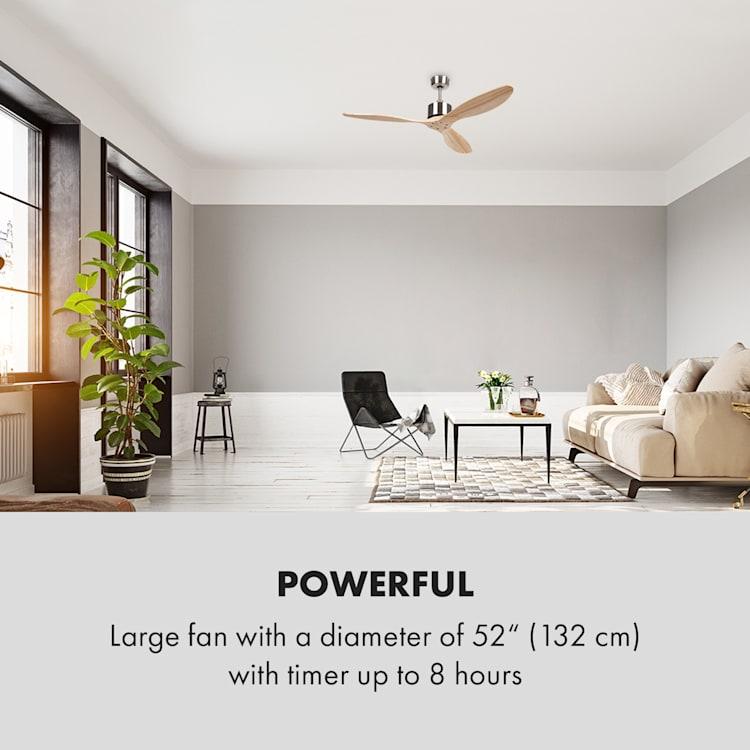 """Santa Elena ventilateur de plafond 52"""" 9.060m³/h 3 pales en bois véritable"""
