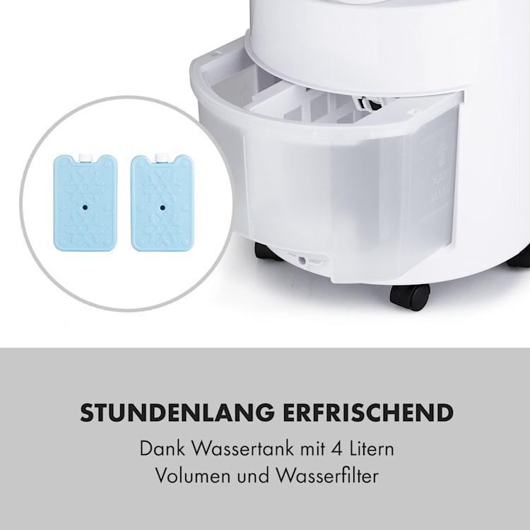 Waterfall Luftkühler 45 W 4 Liter 2 Kühlakkus mobil Weiß
