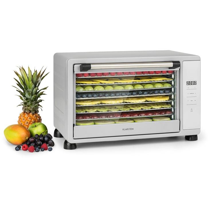 Mega Jerky voedseldroger 650W 35-80°C LC-touch-display timer 8 etages Zilver
