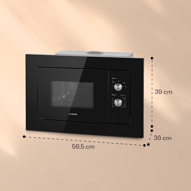 Luminance Einbau-Mikrowelle 20Ltr 800W Defrost Einbau 5 Stufen Ø24,5cm Teller Schwarz