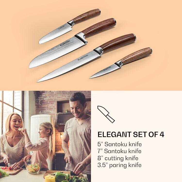 Kaito Damaszener Set de cuchillos 4 piezas muy afiladas mangos de palo rosa