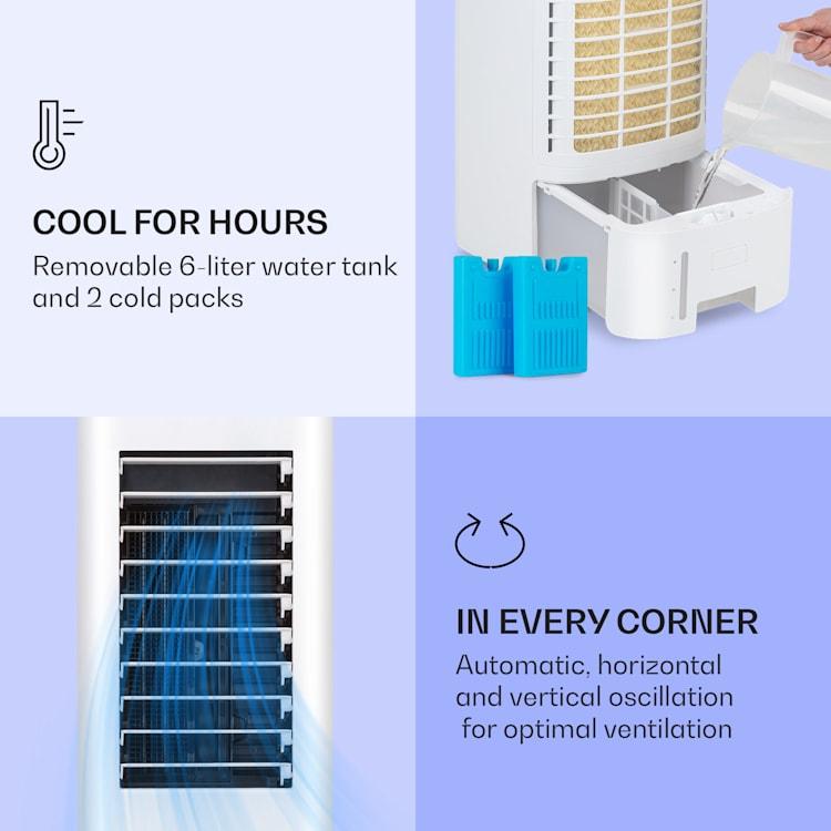 Icewind Max, ochlazovač vzduchu 3-v-1, 330 m³/h 60W, oscilace, 6 litrů, časovač, dálkový ovladač Bílá