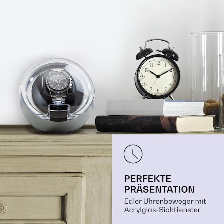 St. Gallen ll Premium horlogeopwinder watchwinder 4 snelheden 3 rotatiemodi Zilver