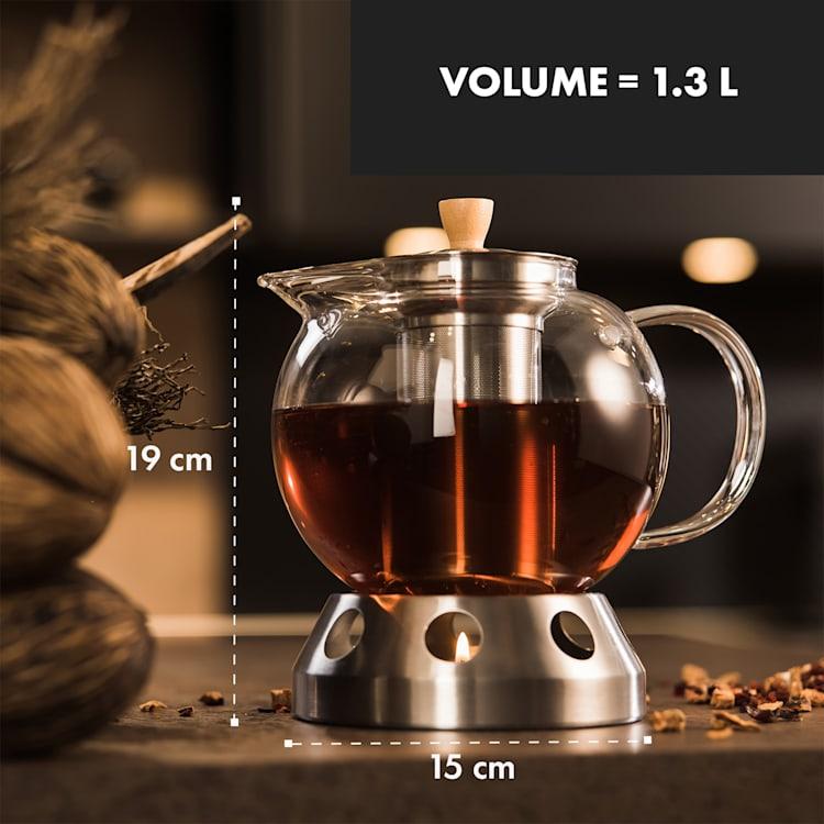 Sencha Théière design avec réchaud en acier inoxydable Hibiscus passoire 1,3 L