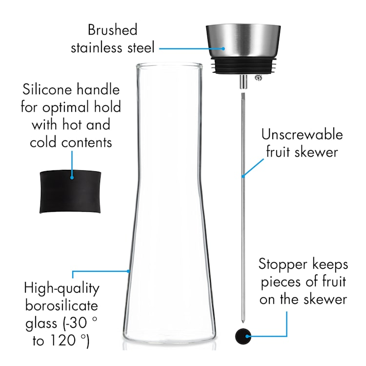 Carafe Sile 1 litre en verre borosilicate brochette à fruits avec fermeture CloseUp 1 Ltr