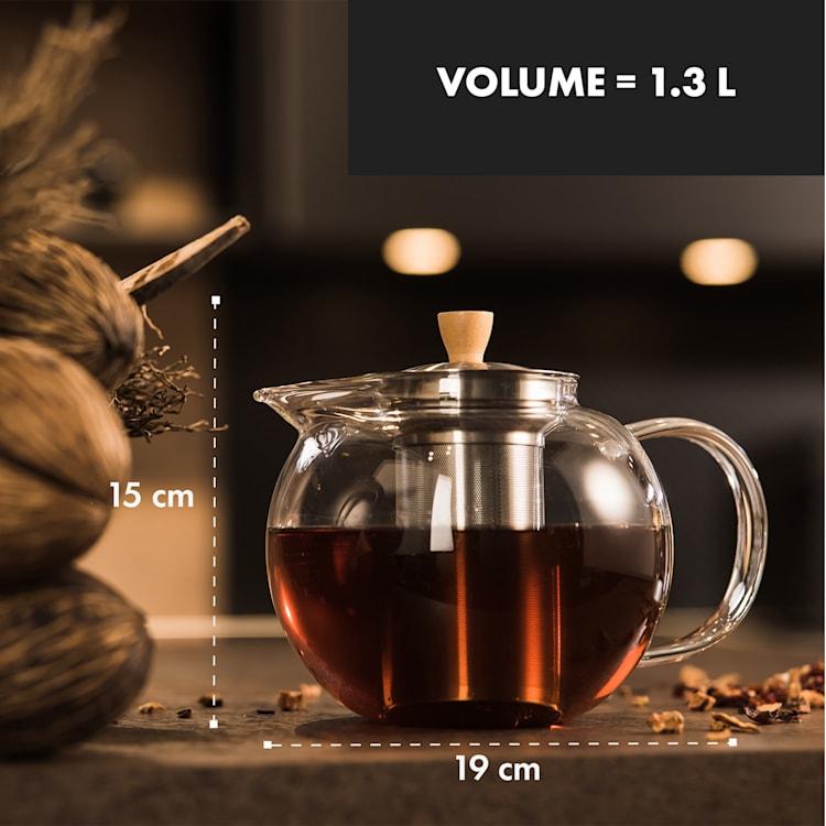 Théière Sencha 1,3 l avec filtre en inox et couvercle en verre borosilicaté  1,3 Ltr