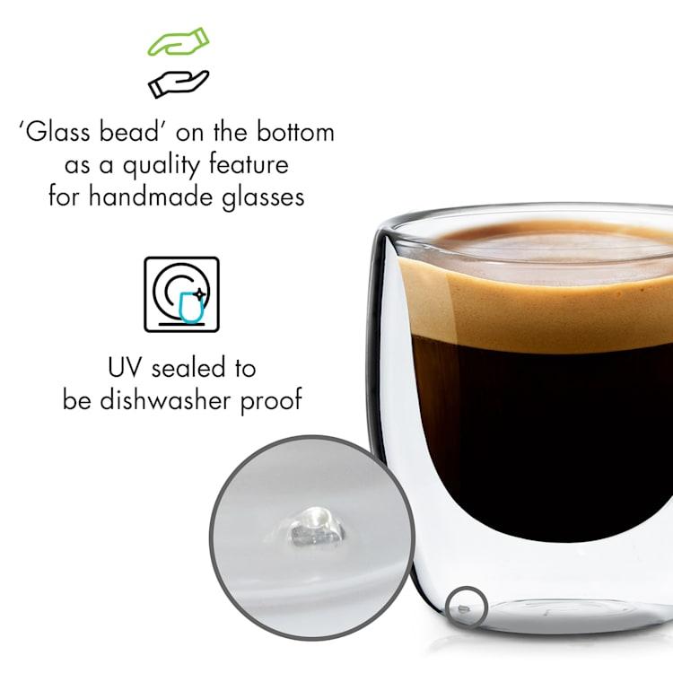 Vienna verres thermos à double paroi en verre borosilicaté fait main 80 ml
